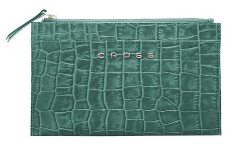 Клатч мини Cross Bebe Coco, кожа наппа фактурная, цвет зелёный/рыжий, 21 х 15 х 1 см