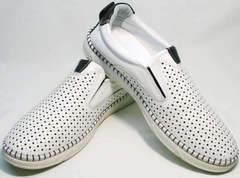 Летние мужские слипоны туфли с перфорацией Ridge Z-441 White Black.