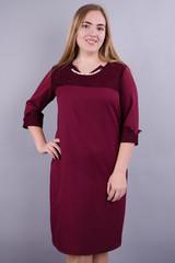 Эвелин. Стильное платье для больших размеров. Бордо.