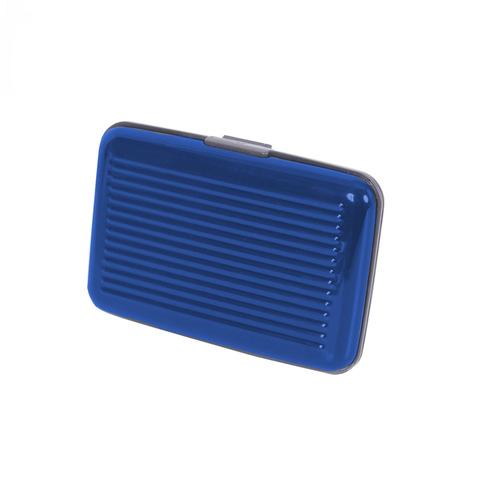 Кейс-кредитница защитная металлическая из алюминия для кредитных карт Security Credit Card Wallet синяя