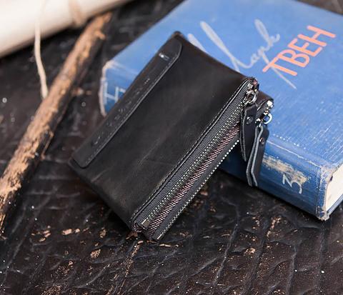 Черный мужской кошелек с монетницей на молнии