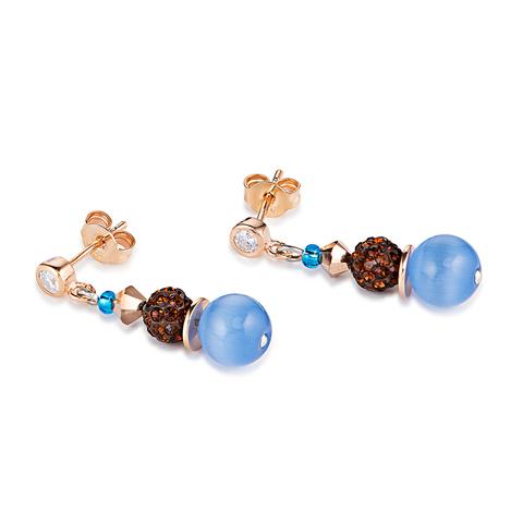 Серьги Coeur de Lion 4864/21-0711 цвет голубой, коричневый