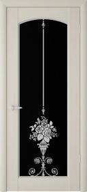 Дверь Фрегат, ПВХ (Верона ПО триплекс черный), беленый дуб, со стеклом