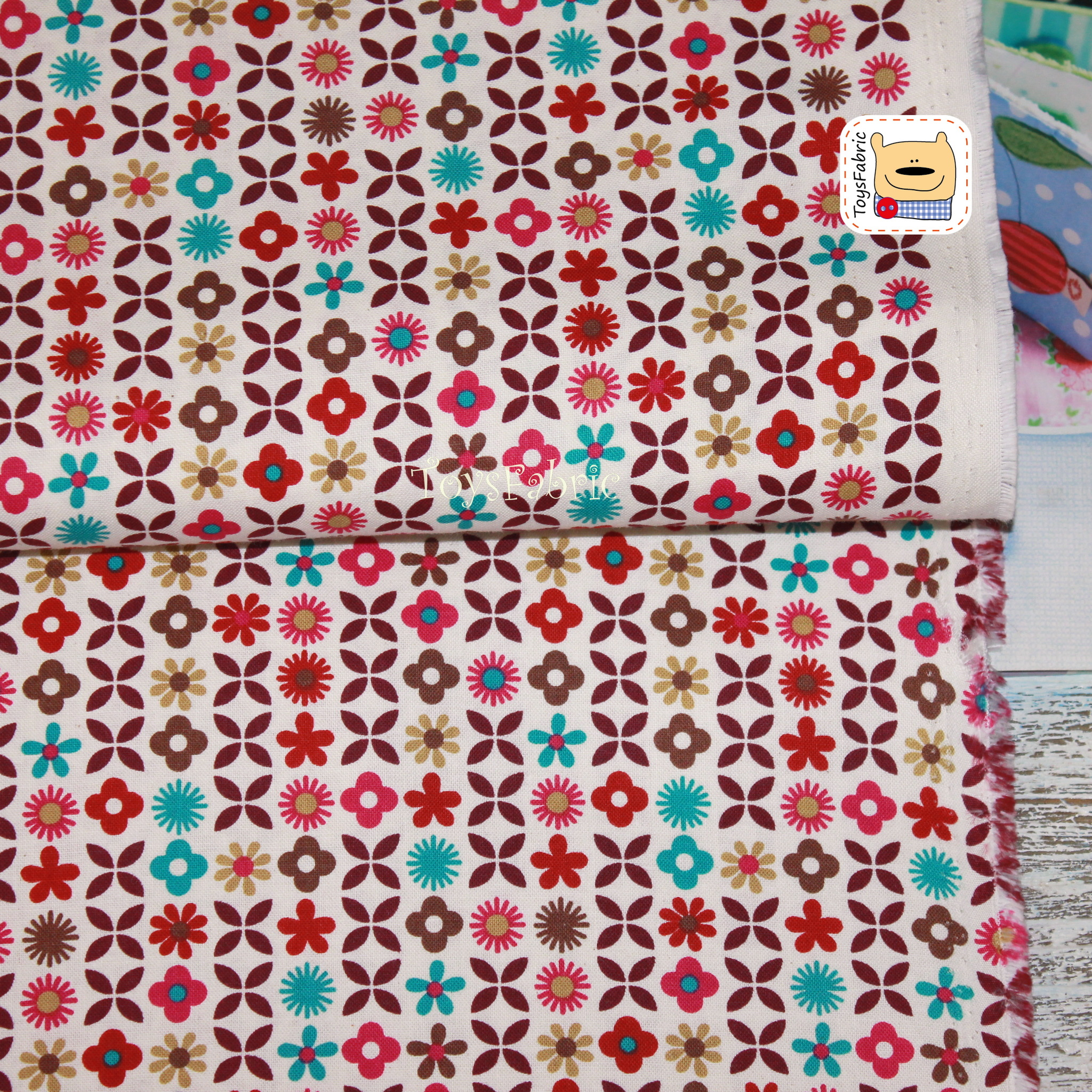 Ткань для пэчворка 20693 Цветочный орнамент (45х55см)