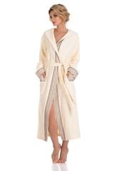 Le Voyageur 931 КРЕМОВЫЙ  бамбуковый женский халат с капюшоном  PECHE MONNAIE Россия