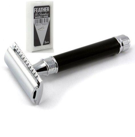 Т-образный станок Edwin Jagger DE86BL Closed comb ручка черный акрил