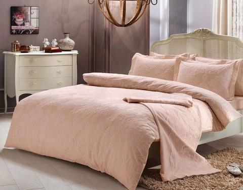 Постельное белье ALGARDI розовый с кружевом deluxe TIVOLYO HOME Турция