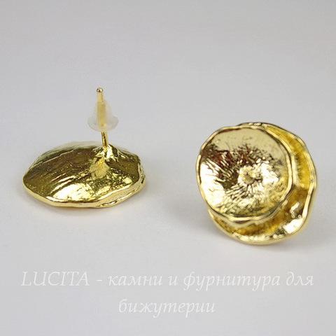 "Пуссеты - гвоздики ""Кувшинки"" 17х16 мм (цвет - золото) (с заглушками)"