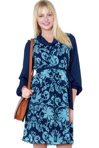 Платье для беременных 05564 синий/бирюзовый
