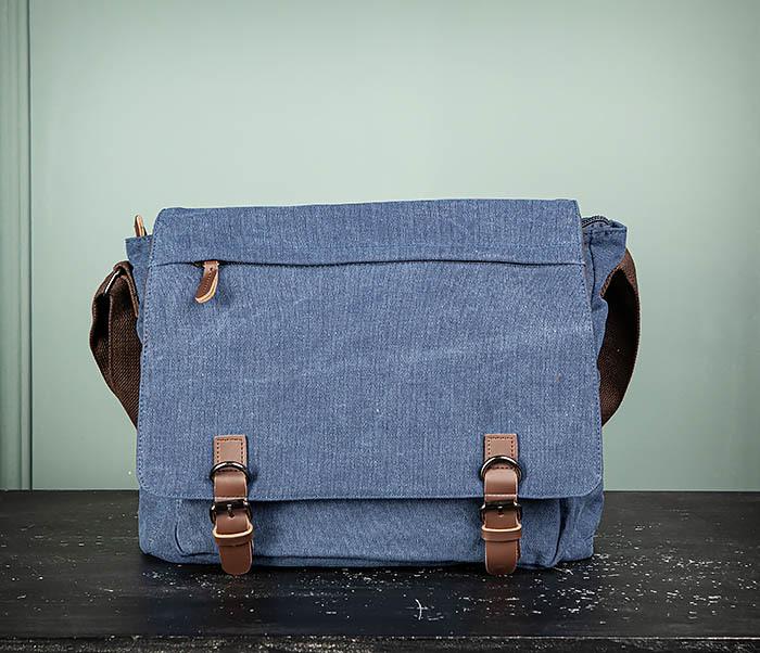 BAG504-3 Мужской портфель из плотного текстиля синего цвета фото 02