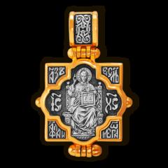 Иисус Христос на троне и Божья Матерь Всецарица. Мощевик нательный.