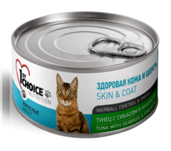 1st Choice Skin & Coat влажный корм для кошек тунец с сибасом и ананасом 85 г