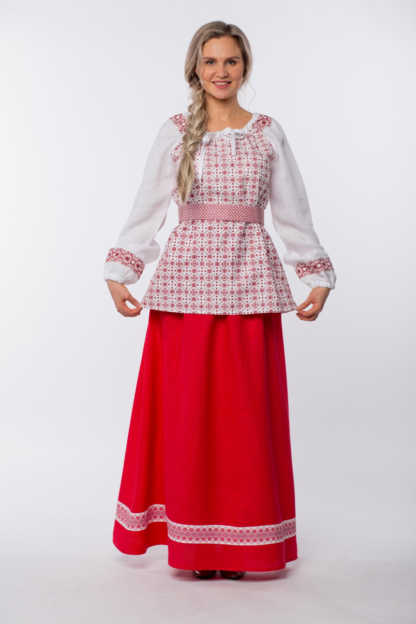Блуза льняная Макошь на белом купить