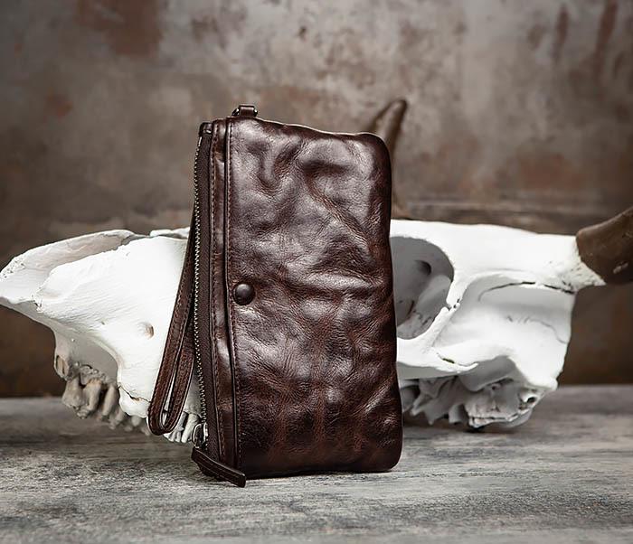 WL311-2 Добротное мужское портмоне из мятой натуральной кожи фото 01