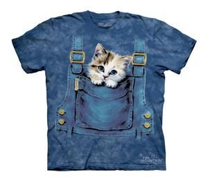 Футболка Mountain с изображением котенка в кармашке - Kitty Overalls