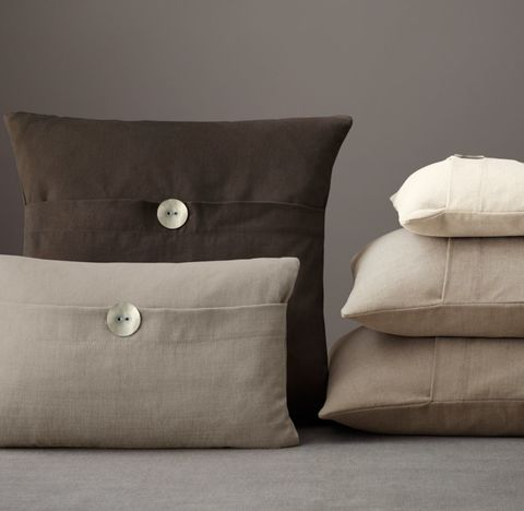 Custom Brushed Linen Cotton Button Pillow Cover