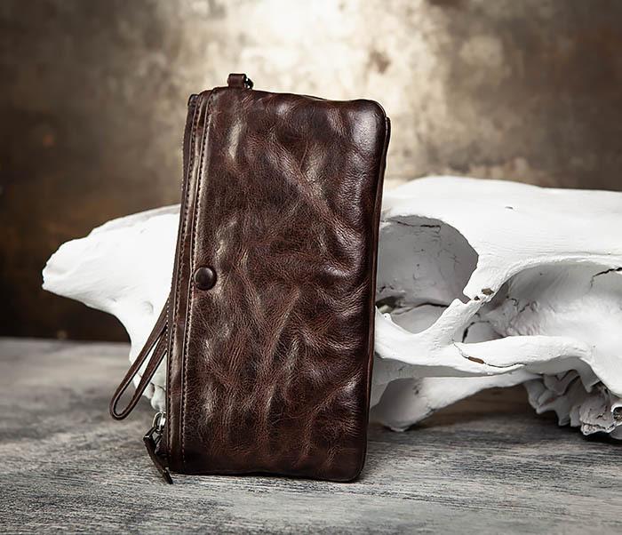 WL311-2 Добротное мужское портмоне из мятой натуральной кожи фото 02