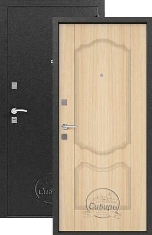 Стальная дверь Сибирь S-1/1, 1 замок, 1 мм  металл (серебро+беленый дуб)