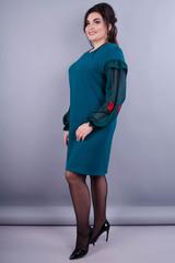 Роуз. Нарядное платье для женщин плюс сайз. Изумруд.