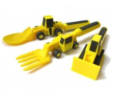 Набор из трех столовых приборов Constructive Eating - Строительная серия (желтый)