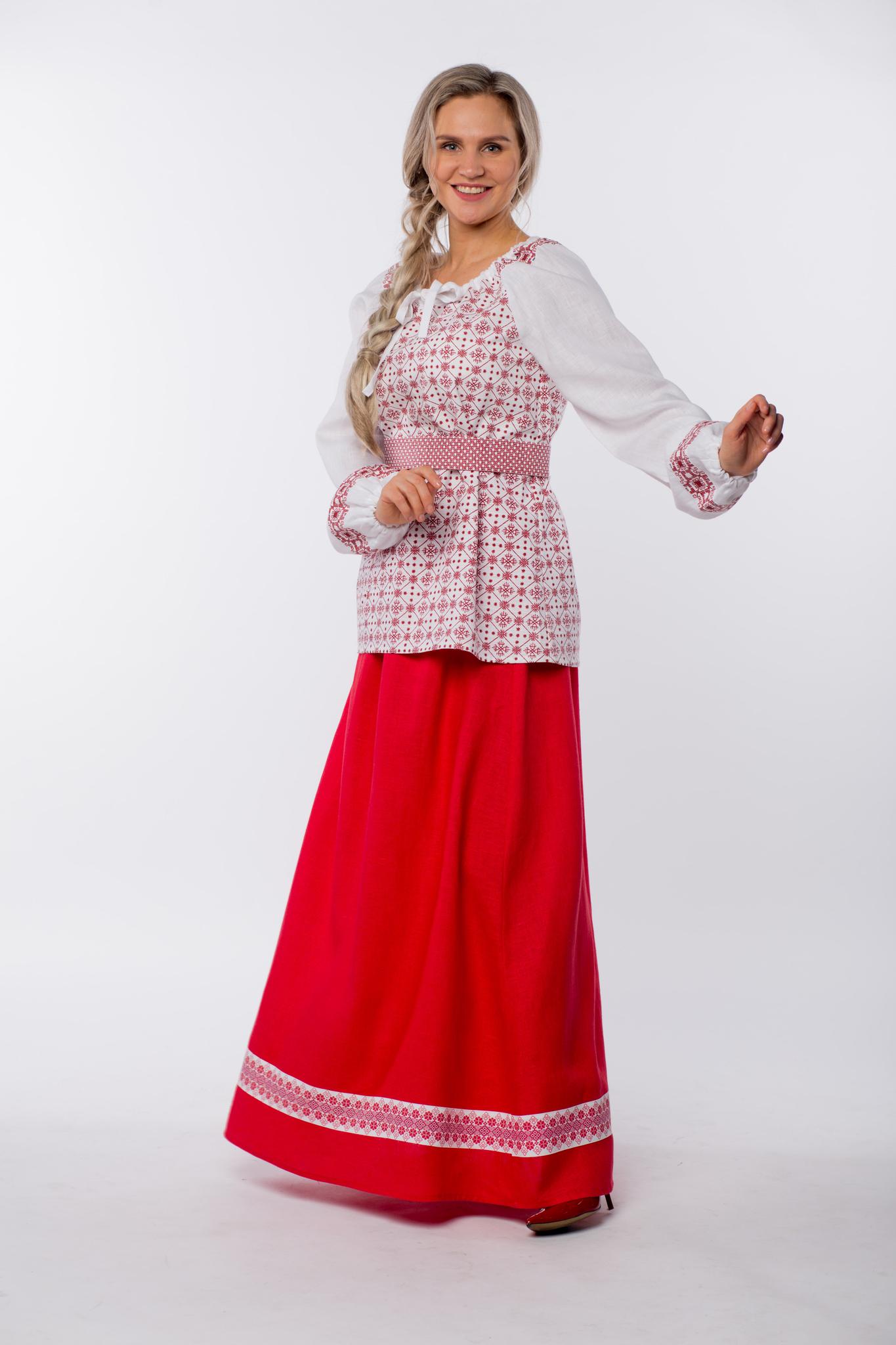 Блуза льняная Макошь на белом в русском стиле