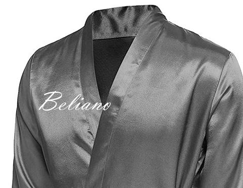 Мужской шелковый халат из натурального шелка (длинный/короткий). Цвет серый