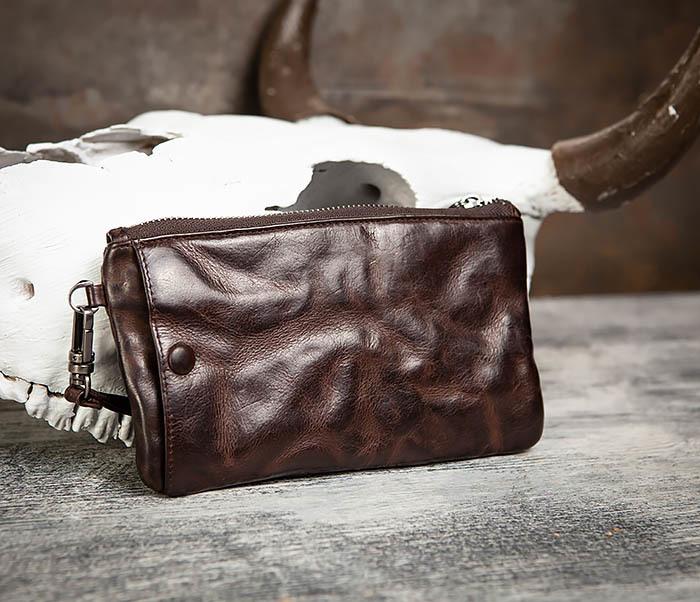 WL311-2 Добротное мужское портмоне из мятой натуральной кожи фото 04