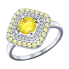 Кольцо из серебра с жёлтыми фианитами