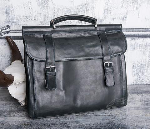 BAG410-3 Мужской кожаный портфель серого цвета ручной работы