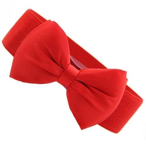 Эластичный пояс с бантом (красный)