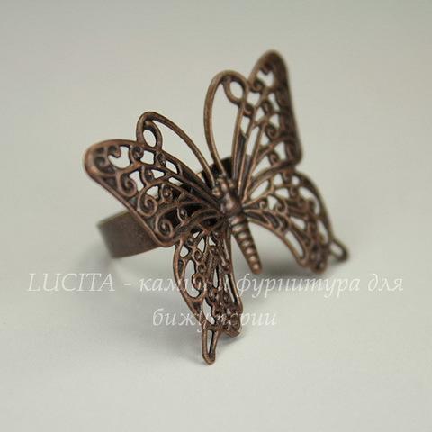 Основа для кольца с филигранной бабочкой 35х26 мм (цвет - античная медь)