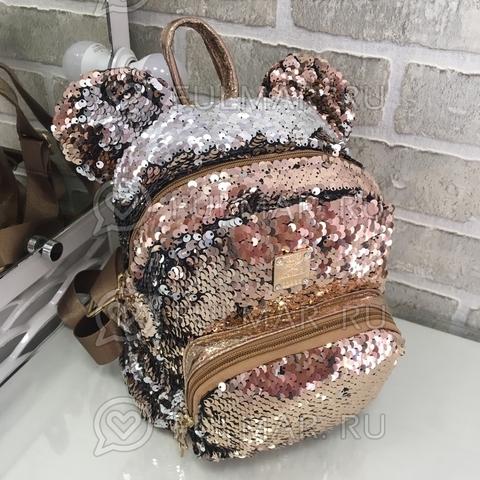 Рюкзак пудровый с ушами с пайетками меняющий цвет Пудровый-Серебристый Звезда