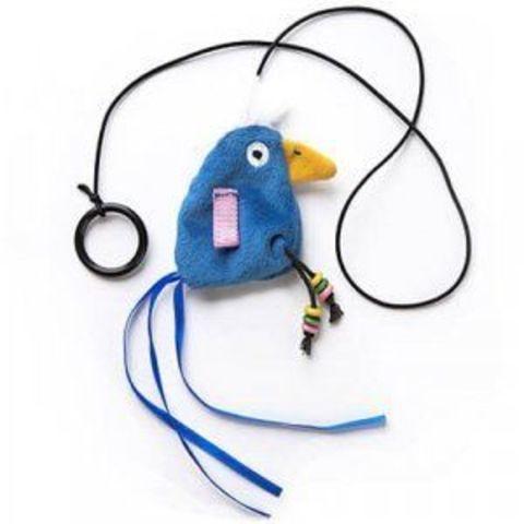 NEMS игрушка для кошек - птичка с погремушкой на резинке с кольцом, 9 см