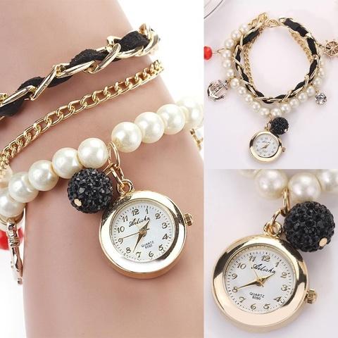 Часы-браслет с жемчугом (черный)