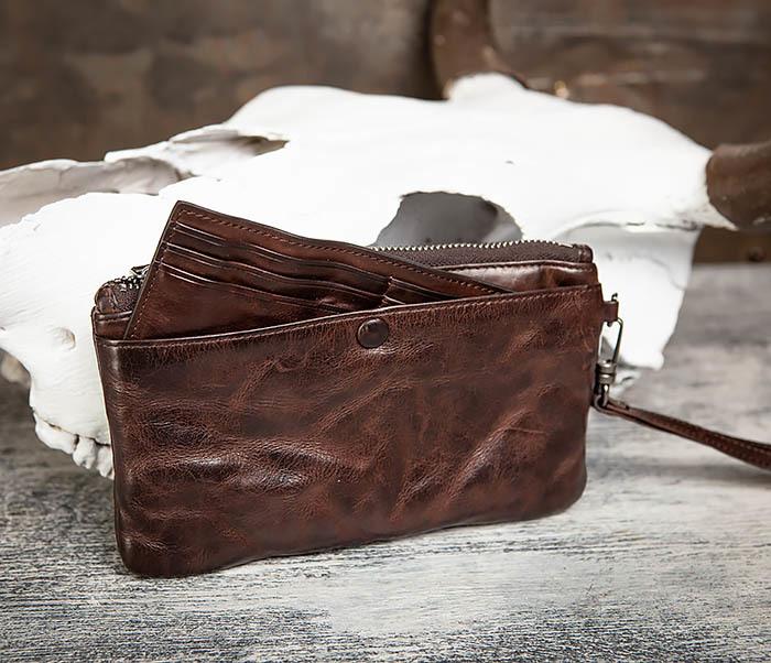 WL311-2 Добротное мужское портмоне из мятой натуральной кожи фото 08