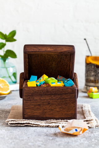 Cube Oak Storage Box