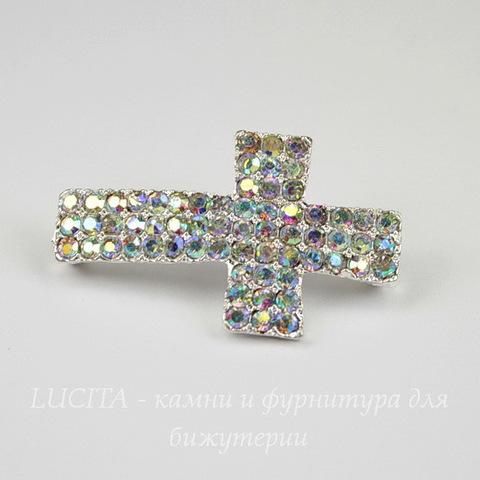 """Разделитель """"Крест"""" со стразами 35х22 мм (цвет - серебро)"""