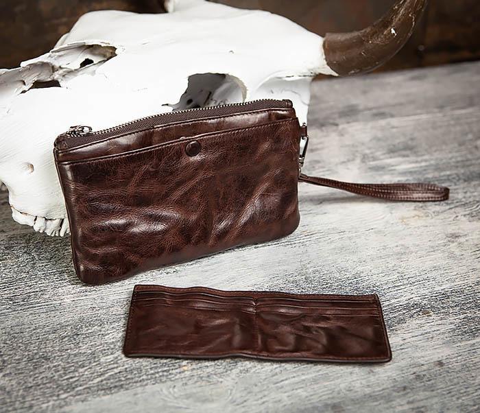 WL311-2 Добротное мужское портмоне из мятой натуральной кожи фото 09