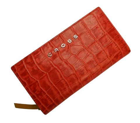 Клатч-кошелёк Cross Bebe Coco,  кожа наппа фактурная, цвет красный/бежевый, 18 х 10 х 3 см