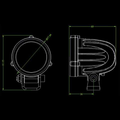 Светодиодная фара  2 дальнего  света Аврора  ALO-R-2-P6T ALO-R-2-P6T  фото-2