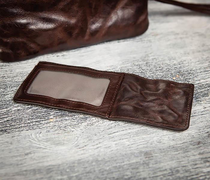 WL311-2 Добротное мужское портмоне из мятой натуральной кожи фото 10