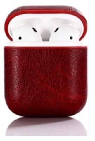 Чехол на AirPods (бордовый) экокожа