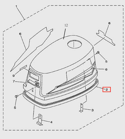 Резинка уплотнительная на капот для лодочного мотора T5 Sea-PRO (1-2)