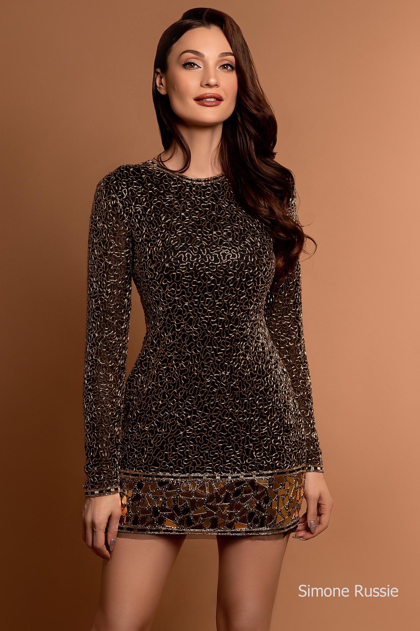 Simone Russie SR1959 Элегантное платье средней длины расшитое золотым бисером