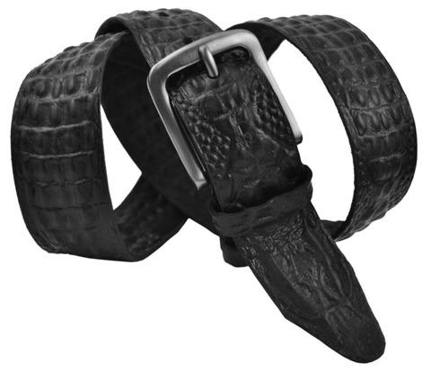 Мужской кожаный чёрный ремень под крокодила 40SVAR-C-006