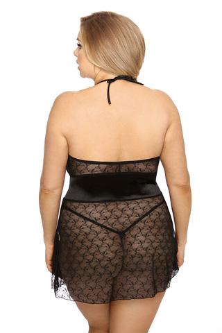 Прозрачная сорочка женская короткая черного цвета