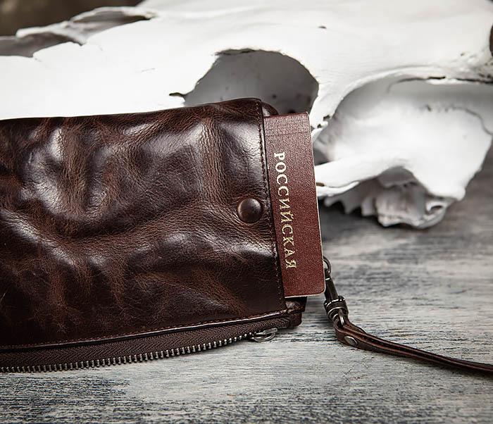 WL311-2 Добротное мужское портмоне из мятой натуральной кожи фото 13