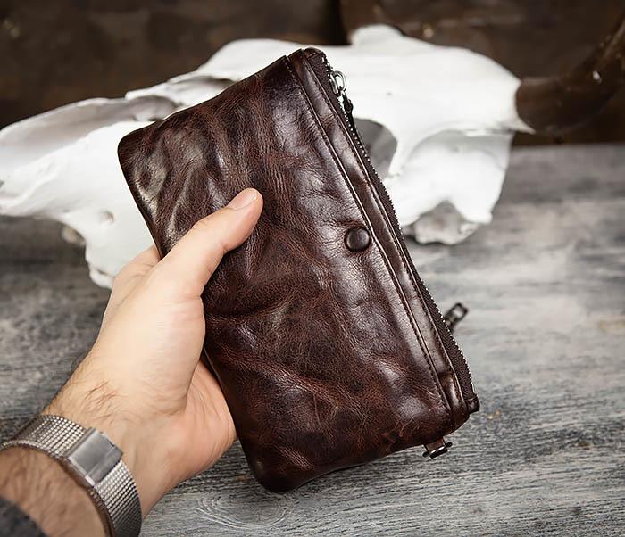 WL311-2 Добротное мужское портмоне из мятой натуральной кожи фото 14