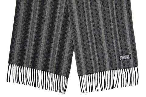 Шерстяной шарф серо-черный в полоску 30041