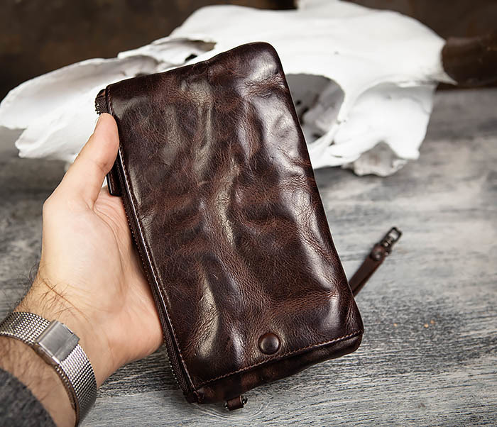 WL311-2 Добротное мужское портмоне из мятой натуральной кожи фото 15